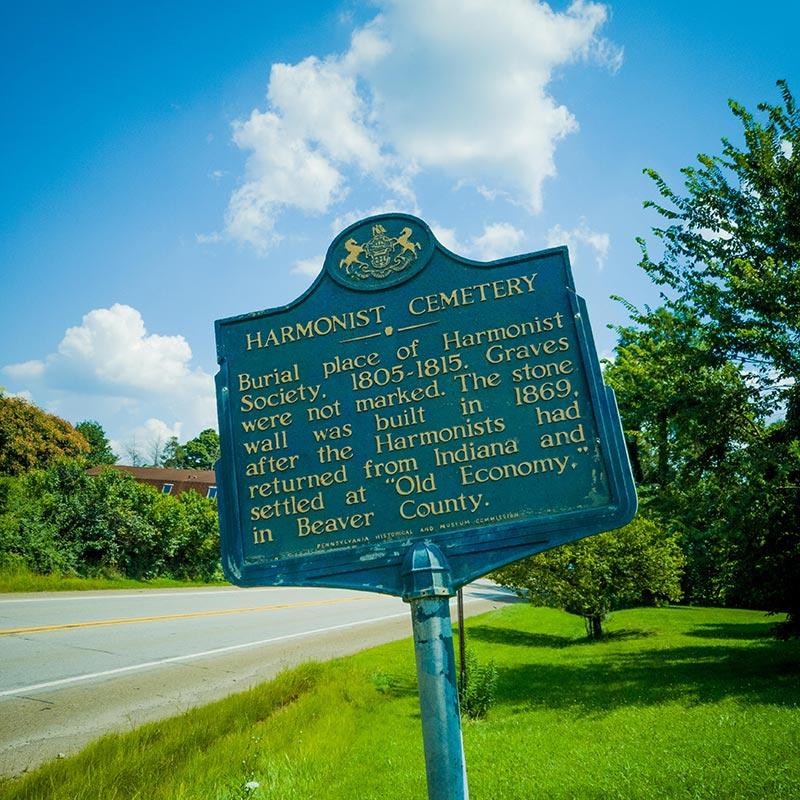 Harmonist Cemetery historic marker