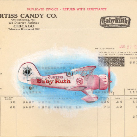 Curtiss Candy Company invoice