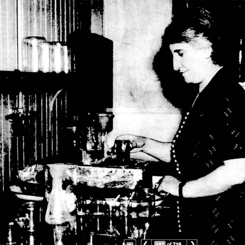 Mrs. Dicranouhi Kabakjian cooks radium in the basement of 105 East Stratford Avenue