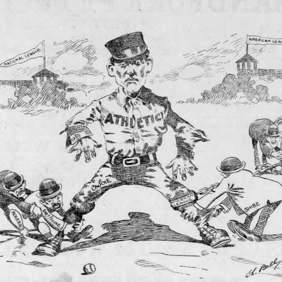 political cartoon about Nap Lajoie
