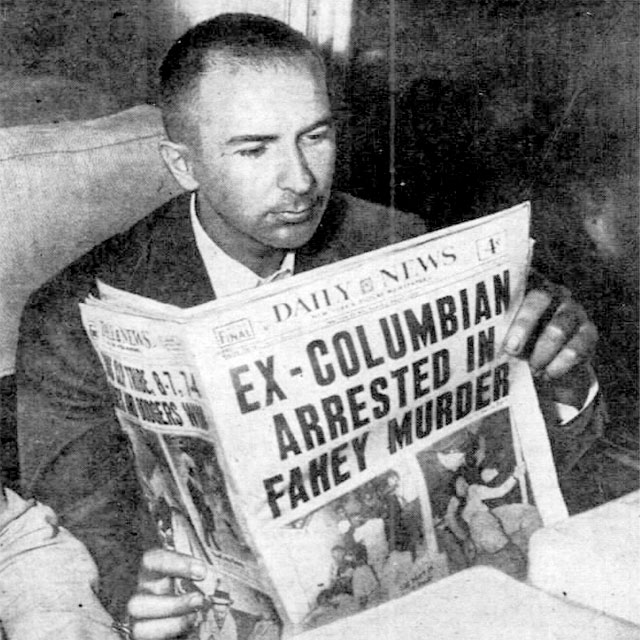 Bayard Peakes reads a newspaper announcing his arrest