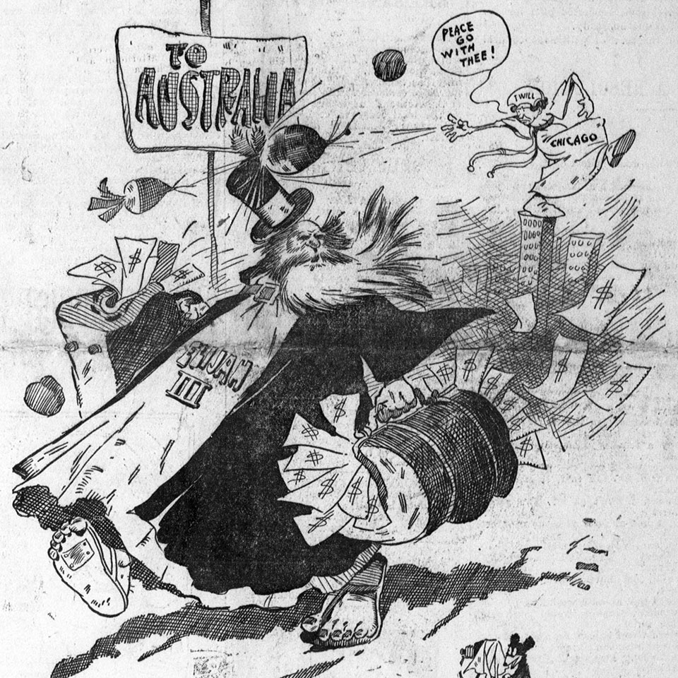 political cartoon showing John Alexander Dowie being run out of Chicago